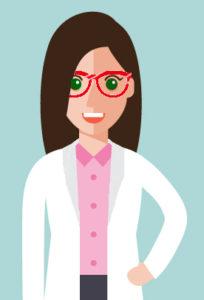 La dottoressa Simona Meloni Biologa Nutrizionista disegnata in un simpatico fumetto