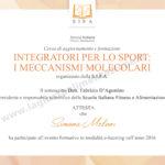 Immagine del certificato di frequenza al Corso di Aggiornamento sugli Integratori per lo sport sui meccanismi molecolari. Seguito dalla dottoressa Simona Meloni, biologa Nutrizionista a Reggio Emilia