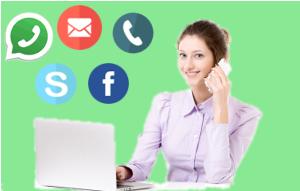 Immagine che rappresenta tutti i modi per contattare la dottoressa Meloni. Si può usare il telefono, skype, whatsapp, facebook oppure il modulo contatti.