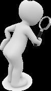 Immagine in cui si mostra un omino con una lente di ingrandimento per mettere in risalto il servizio di assistenza durante il percorso dietetico.